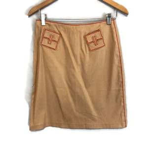 Etcetera Brown Khaki Embroidered Pencil Skirt